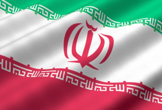 Detailed 3d rendering closeup of the flag of Iran.  Flag has a detailed realistic fabric texture.
