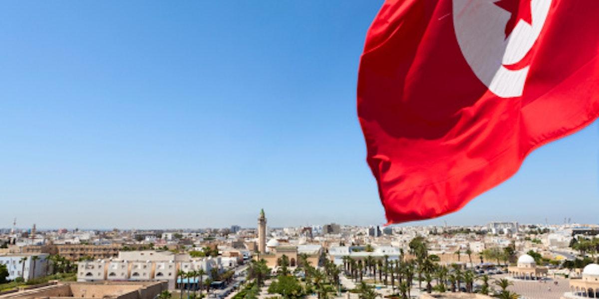 Panoramic view of streets in Monastir city, Tunisia