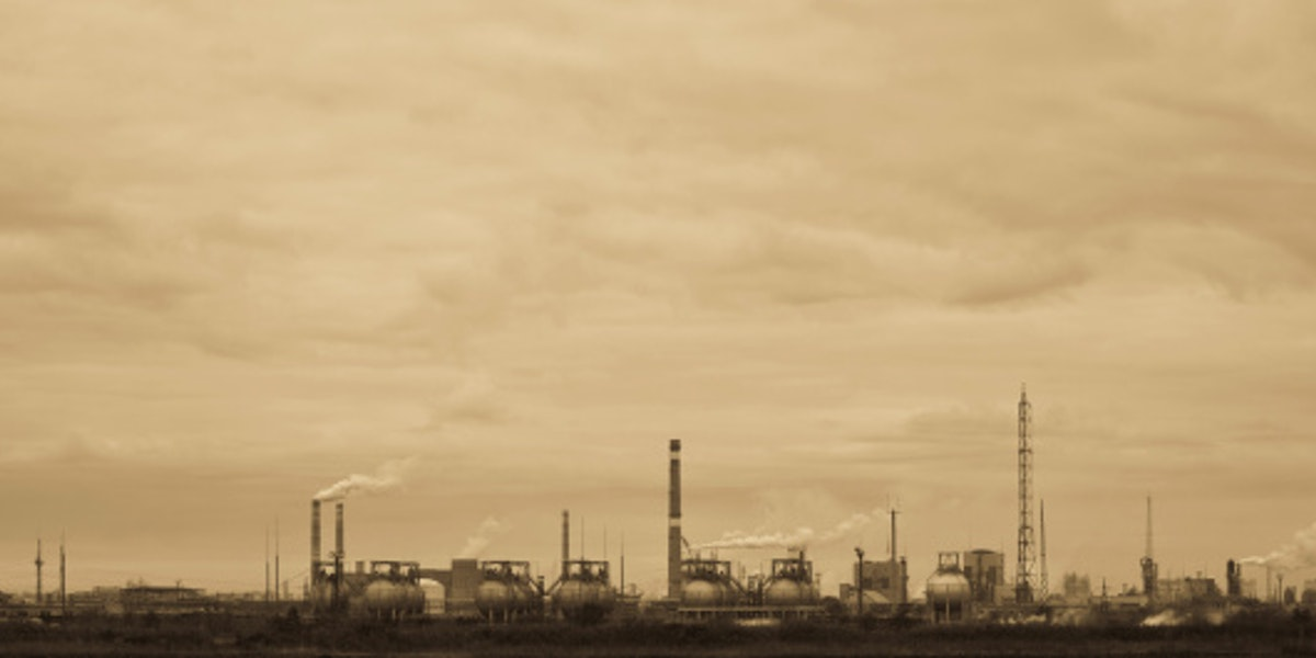 Sepia-toned view of old chemical factory