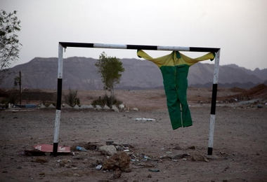 SHARM EL SHEIKH, EGYPT - MAY 19:  A piece of clothing hangs in a goal post near the Old Market on May 19, 2010 in Sharm El Sheik, Egypt.  (Photo by Dan Kitwood/Getty Images)