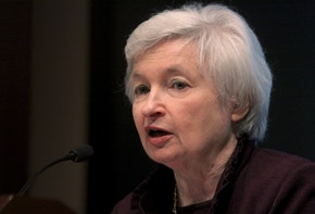Janet Yellen, president of the Federal Reserve Bank of San Francisco, speaks at the University of San Diego's Joan Kroc Institute for Peace and Justice in San Diego, California, U.S., on Monday, Feb. 22, 2010. Yellen said the U.S. economy will operate below potential this year and next and still needs low interest rates to gain strength. Photographer: Sandy Huffaker/Bloomberg via Getty Images