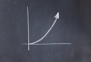 Assending graph drawn on a blackboard