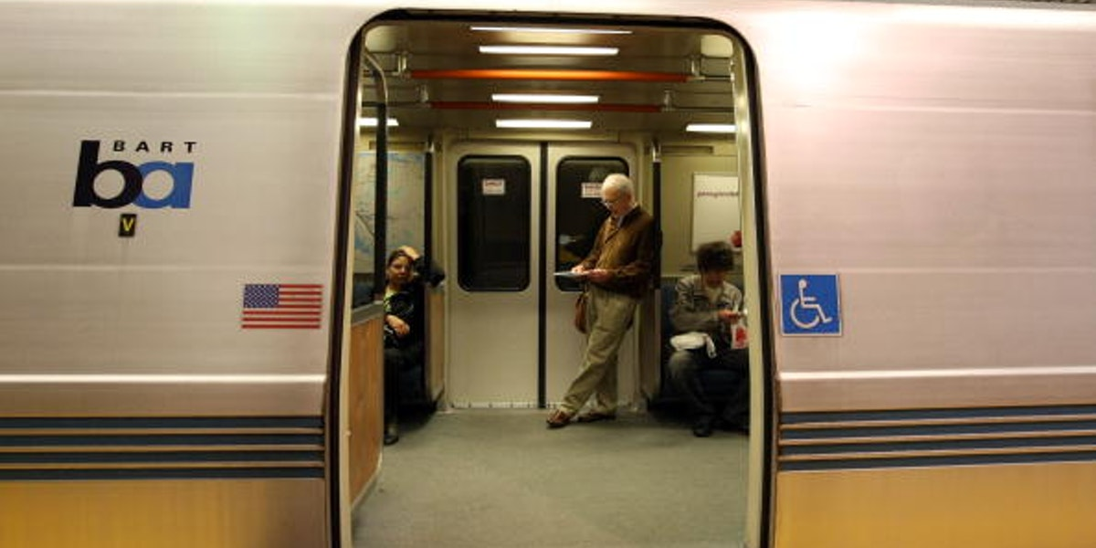 SAN FRANCISCO - MAY 12:  Bay Area Rapid Transit (BART) passengers wait onboard a train at the Powell Street station May 12, 2008 in San Francisco, California. BART and other mass transit systems across the country are experiencing a surge in ridership as commuters get out of their cars and take advantage of buses, trains and ferries as in an effort to save money as gasoline prices continue to climb to record highs.  (Photo by Justin Sullivan/Getty Images)