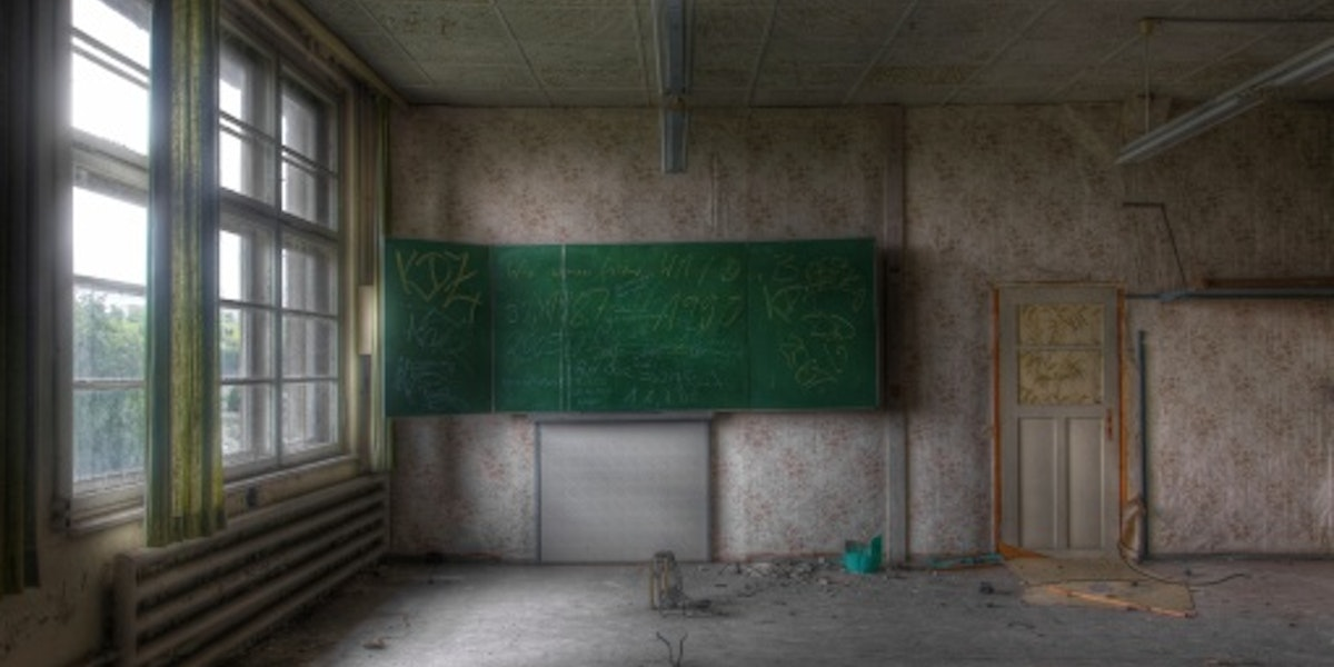 Old classroom in an abandoned school