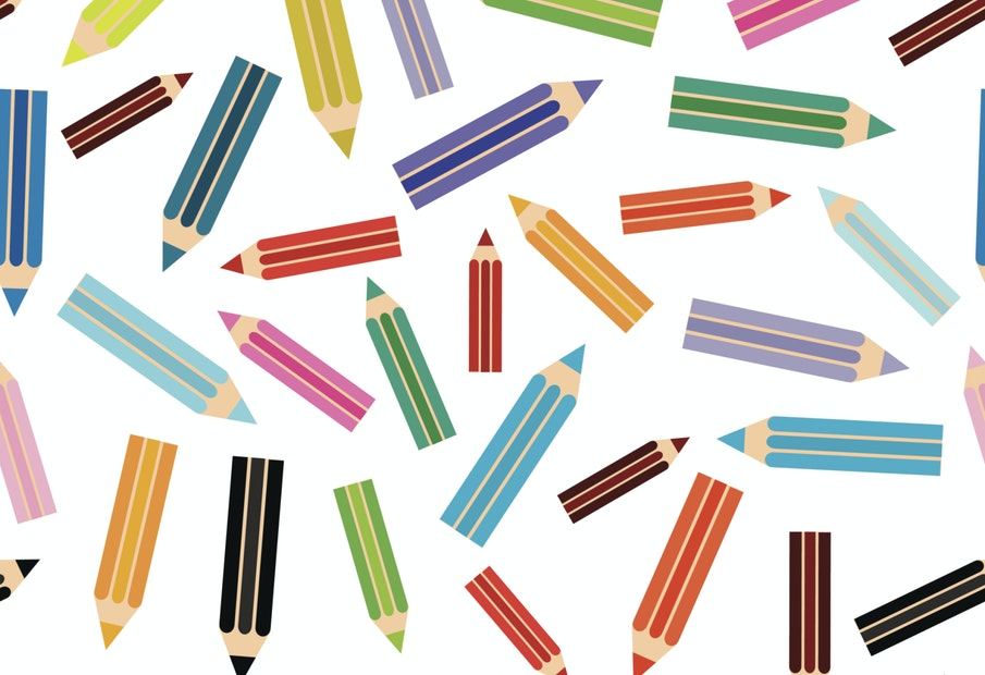 Flat modern seamless pattern colored pencils on white background. Vector