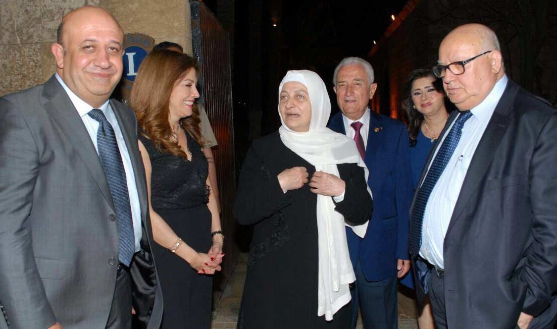Governor of Rotary International Club in Lebanon honors Mayor Mohammad Al Saoudi (right) for his work. Bahia Hariri (middle) attends ceremony to show support for the work of civil society organizations. May, 2016. Sidon, Lebanon. Picture by author.