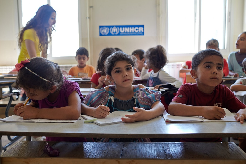 Syrian refugee students attend a class in an accelerated learning programme at public school in Kamed Al Louz in the Bekaa Valley, Lebanon. Source: Flickr, UNHCR/Photo by Shawn Baldwin