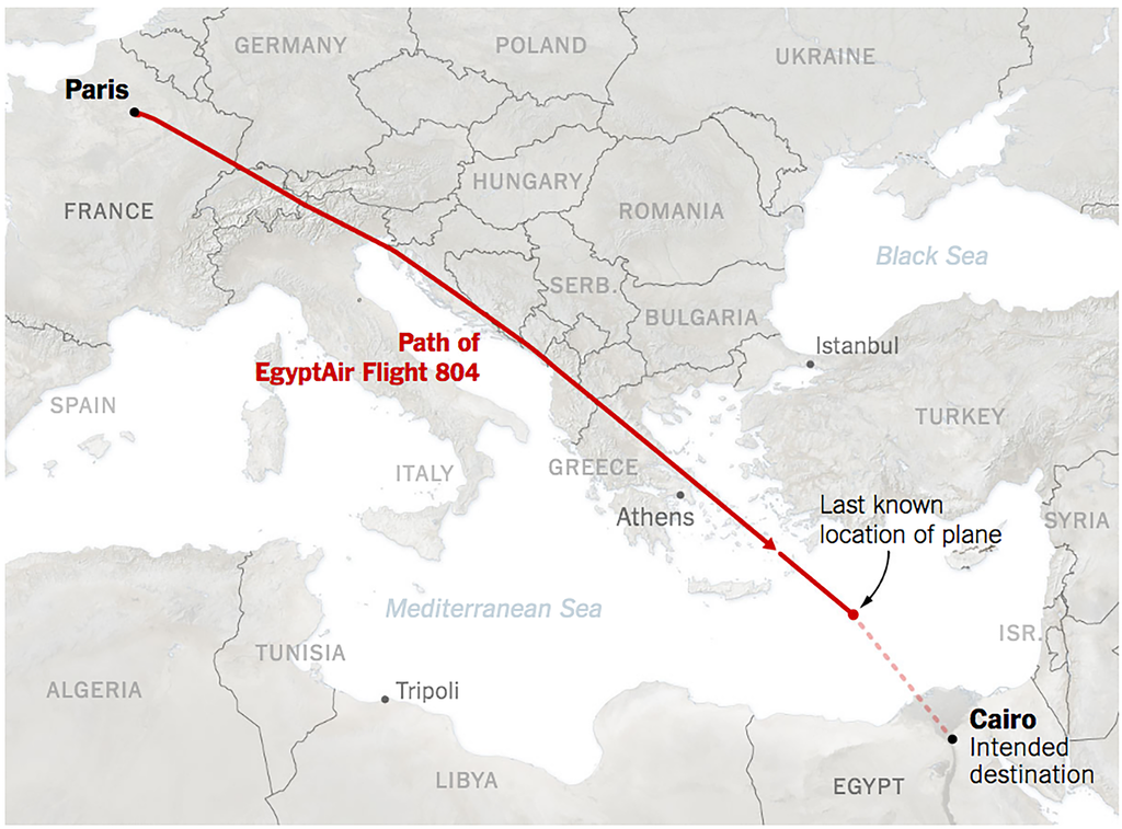 Source: The EgyptAir Flight: Moment by Moment, The New York Times