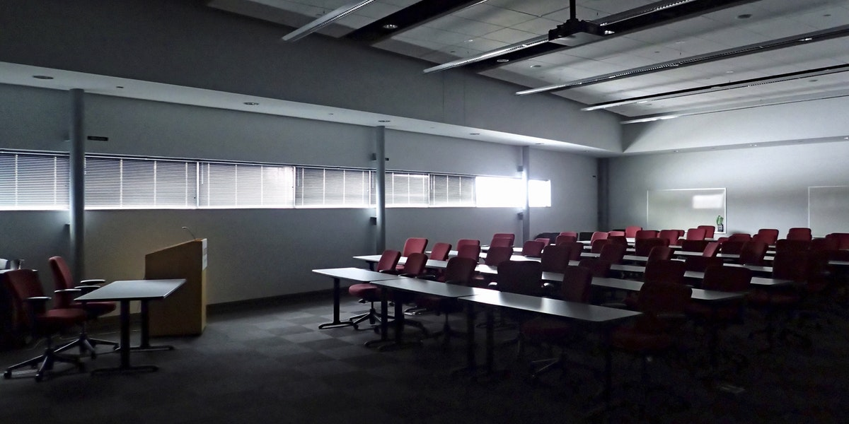 A presentation / meeting room in an office building or business.
