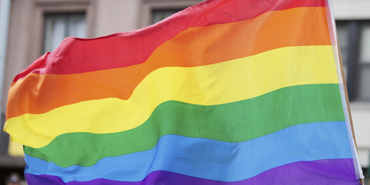 Rainbow flag symbolizing and celebrating gay rights and freedom of expression.