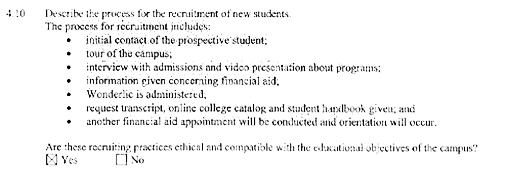 Excerpt from the ACICS evaluation team report of the ITT Tech campus in San Bernardino, California, January 2012.