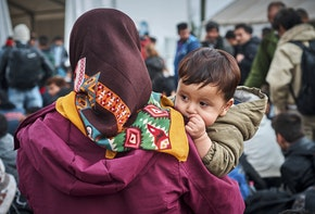 Gevgelija, Macedonia, Republic of - October 28, 2015: waiting and hoping for the better future