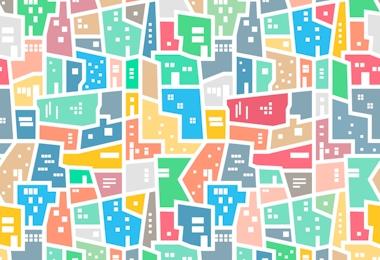 Brazilian favela. Landscape with city blocks. Bright colored seamless pattern. Vector background.