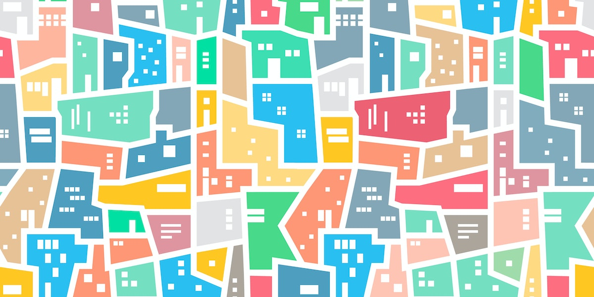 Brazilian favela. Landscape with city blocks. Bright colored seamless pattern. Vector background.