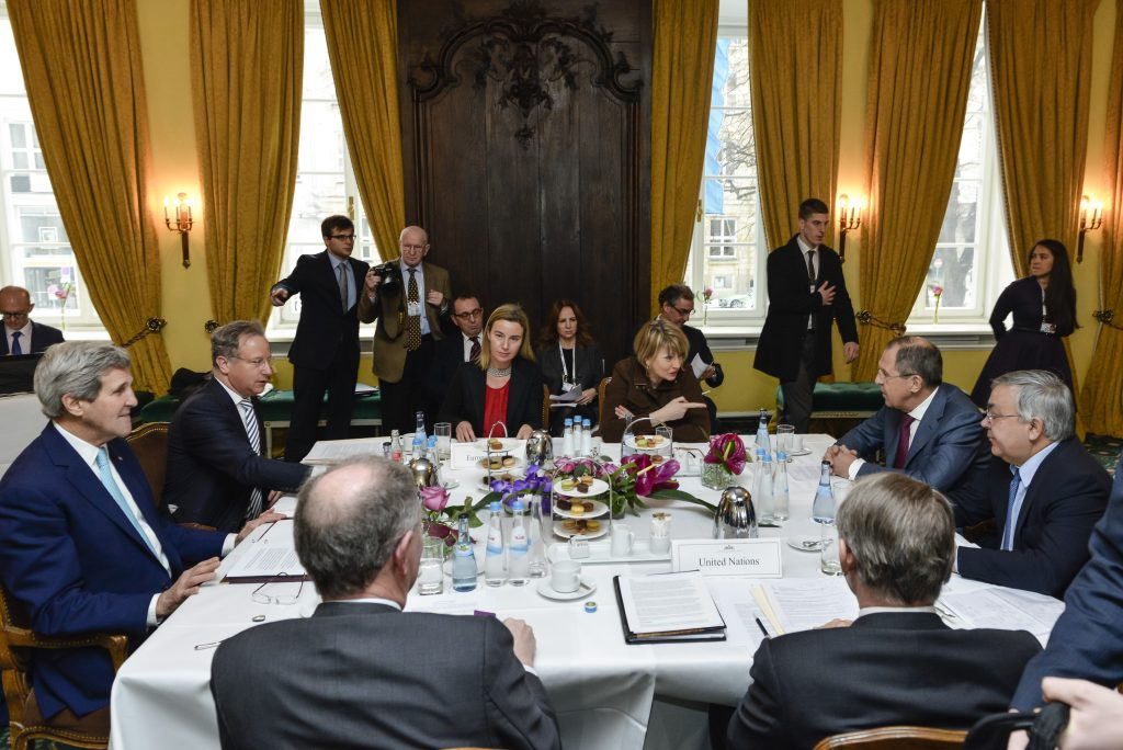 High Representative of the Union for Foreign Affairs and Security Policy and European Commission Vice-President Federica Mogherini (C) during the quartet lateral meeting with Sergei Lavrov (2R) Minister for Foreign Affairs of Russia, John Kerry (L) Secretary of State of the United States and Jan Eliasson (2R) Deputy Secretary General of the United Nations during the 51st Security Conference in Munich, Germany on February 8, 2015. Source: European External Action Service.