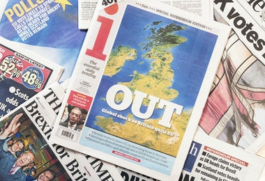 Edinburgh, UK - June 24, 2016: British newspaper front page headlines featuring the 'out' result in the British referendum on European Union membership held on 23rd June 2016.