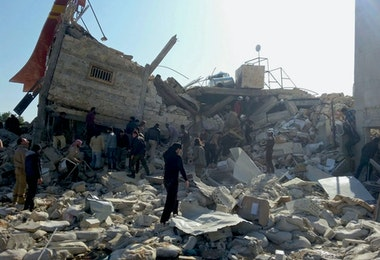 epaselect epa05162072 A handout image dated 15 February 2016, provided by the Médecins Sans Frontières (MSF) or Doctors Without Bordersorganization, showing destruction and rubble at an MSF-supported hospital in Idlib province in northern Syria, largely destroyed in an attack on early 15 February 2016. At least eight staff members are missing after airstrikes at a hospital affiliated with Doctors Without Borders (MSF) in northern Syria, believed to have been carried out by Russian jets. 'We can confirm that the MSF-supported structure in Maaret al-Noumaan in northern Idlib was destroyed this morning in airstrikes,' said Mirella Hodeib, a press offer at MSF in Beirut. MSF said 40,000 people would be cut off from access to medical services as a result of the latest strikes on the hospital in Idlib. Three MSF-supported hospitals were recently damaged in Aleppo.  EPA/SAM TAYLOR / MSF / HANDOUT  HANDOUT EDITORIAL USE ONLY/NO SALES