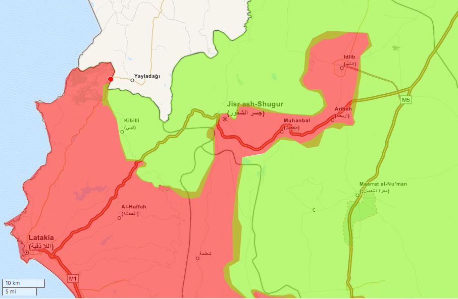 Map of the Idlib region in Jaunary 2015, by deSyracuse (@deSyracuse). Government control in red, rebel control in green.