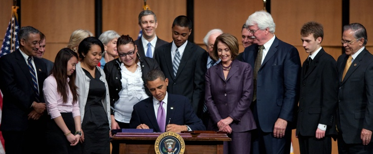President Barack Obama signs the Health Care and Education Reconciliation Act of 2010 at Northern Virginia Community College in Alexandria, Virginia, March 30, 2010. Source: Flickr.