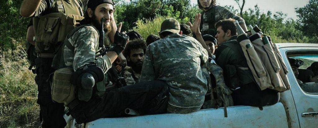 Ahrar al-Sham fighters prepare for battle in Lattakia. Source: Screenshot by Author/@Ahrar_Lens.