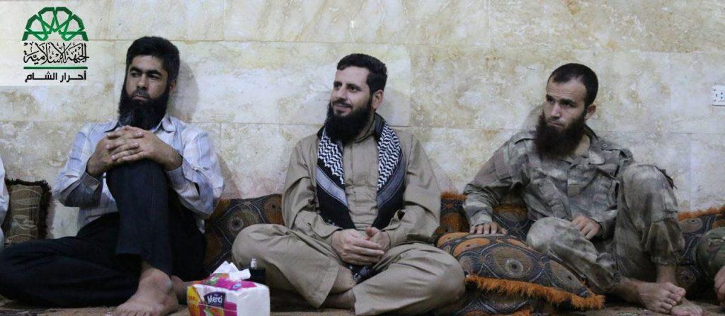 Ahrar al-Sham leader Muhannad al-Masri (Abu Yehya al-Hamawi) visits commanders in southern Idlib. Source: Screenshot taken by Author/@ Ahrar_Lens.