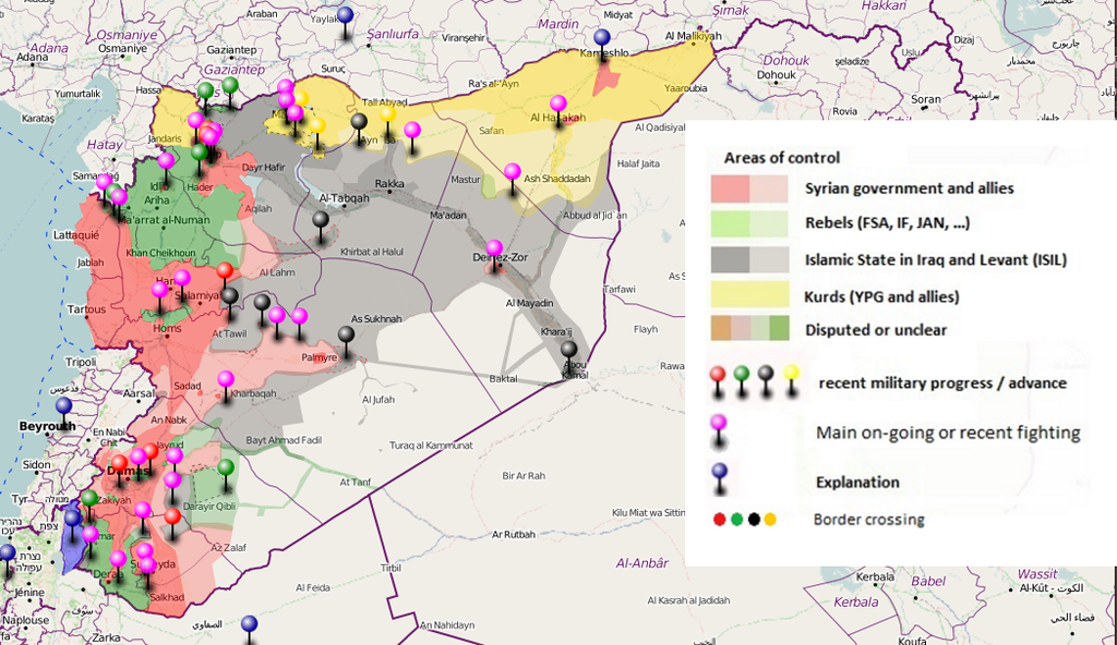 Syria Conflict Map/July 15, 2016. Source: @deSyracuse. Click here to view map in interactive format.