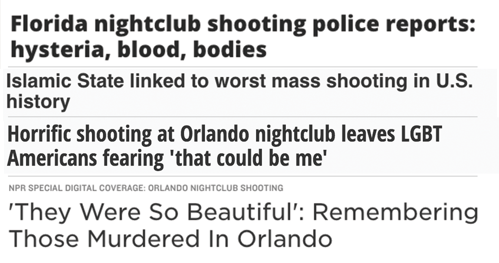 Headlines compiled by author. Selection of top hits yielded by Google News.