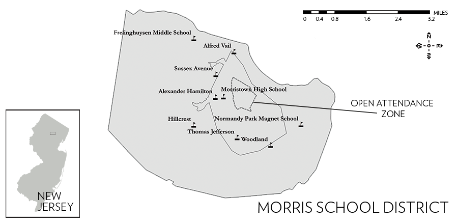 Figure 7. Locations of the Schools in the Morris School District. Source: NJ Office of Information Technology (NJOIT), Office of Geographic Information Systems (OGIS) (2015), Municipal Boundaries and School Point Locations; Morris School District (2016), Open Enrollment Boundary.