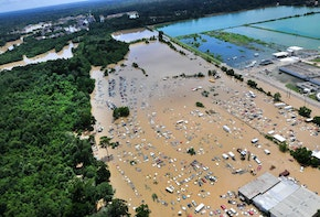 An view from an MH-65 Dolphin helicopter shows flooding and devastation in Baton Rouge, La., Aug. 15, 2016, where service members have rescued residents and provided relief. Coast Guard photo by Petty Officer 1st Class Melissa Leake