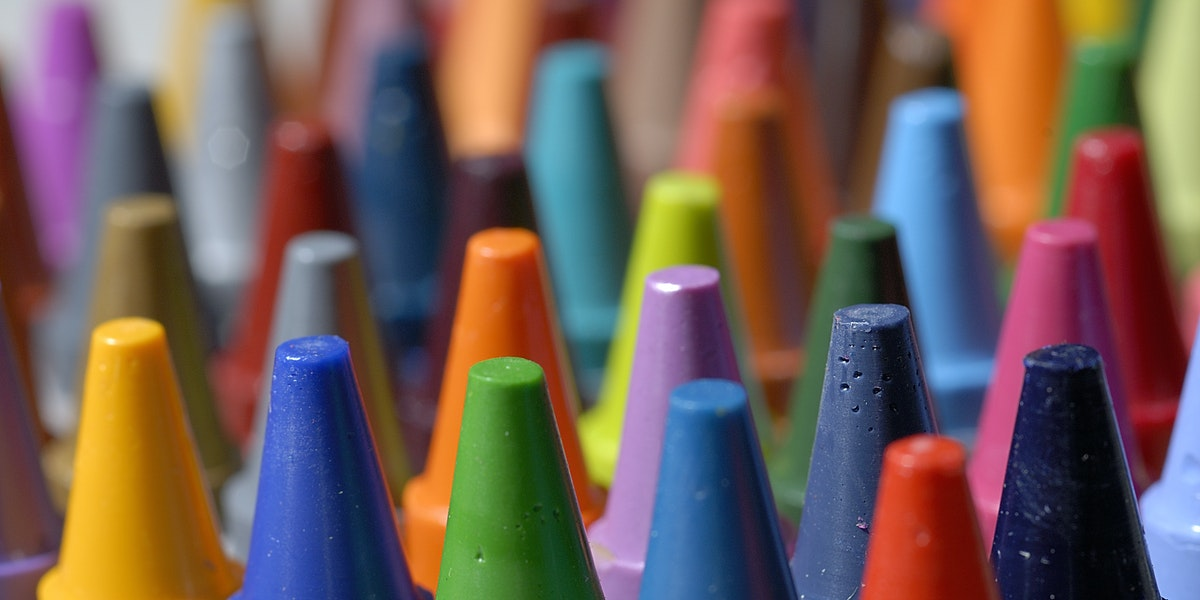 Colorful close up of crayons