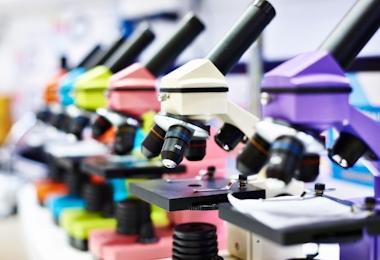 Microscopes for children in school closeup