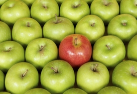 Red apple among green