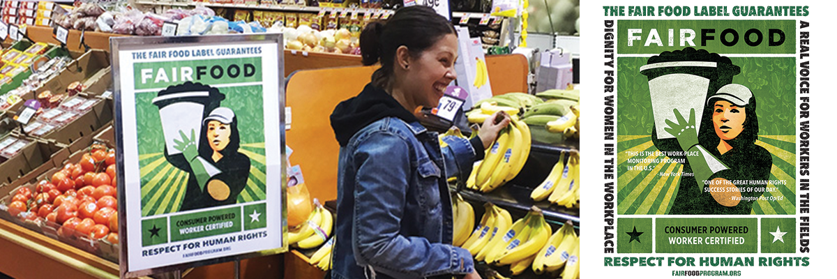 A Stop & Shop customer in Teaneck, NJ browses produce alongside a brand-new Fair Food Program point of sale display. (Left) The Fair Food label. (Right) Source: