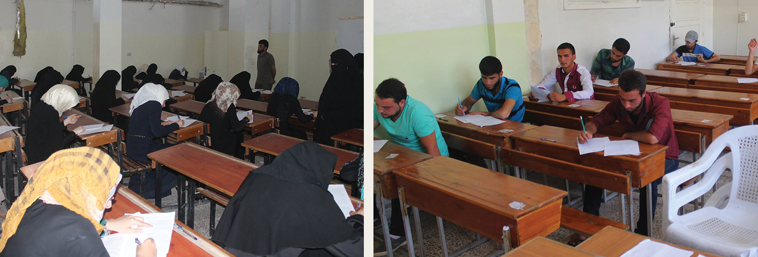 Idlib University students sit for exams.