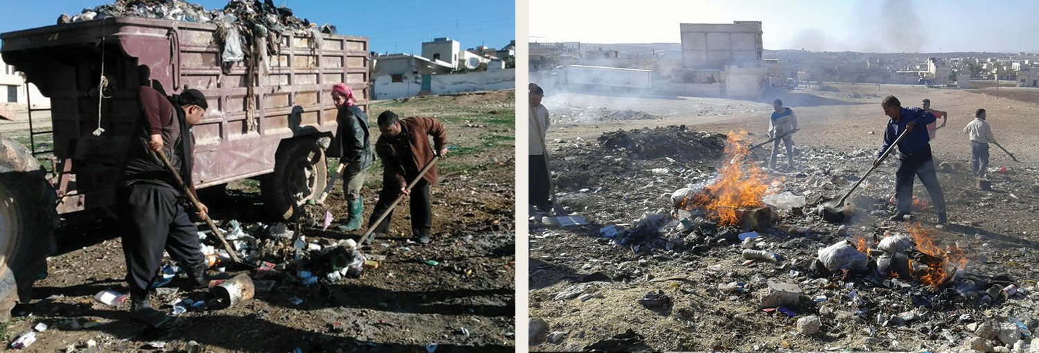 Khan Sheikhoun Local Council employees dispose of trash.
