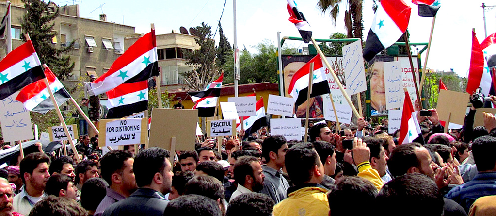 Anti-government demonstration in Douma on April 8, 2011. Source: Wikimedia Commons.
