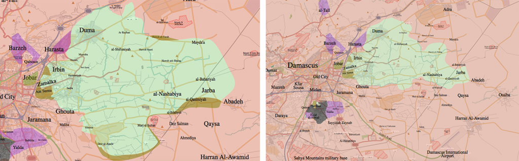 Frontlines in the Eastern Ghouta enclave, December 2015 (left) - June 2016 (right). Source: Wikimedia Commons.