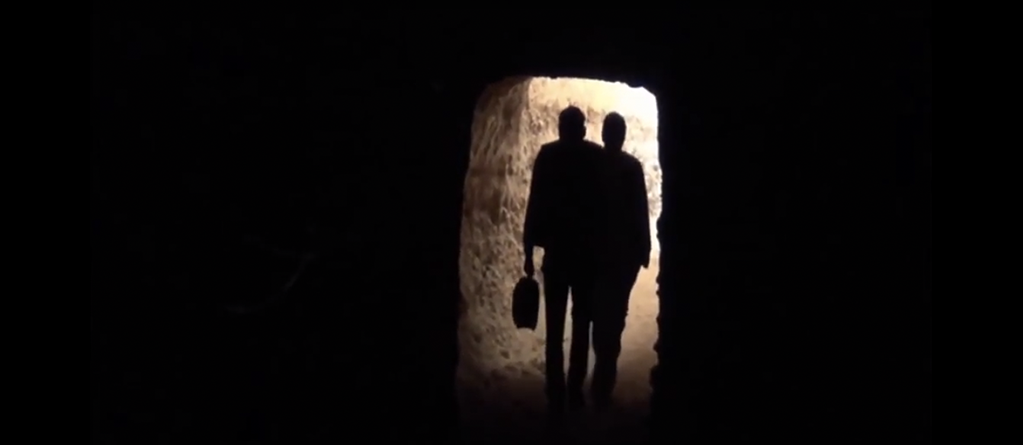Rebels exit a tunnel in the Eastern Ghouta. Source: Orient TV.