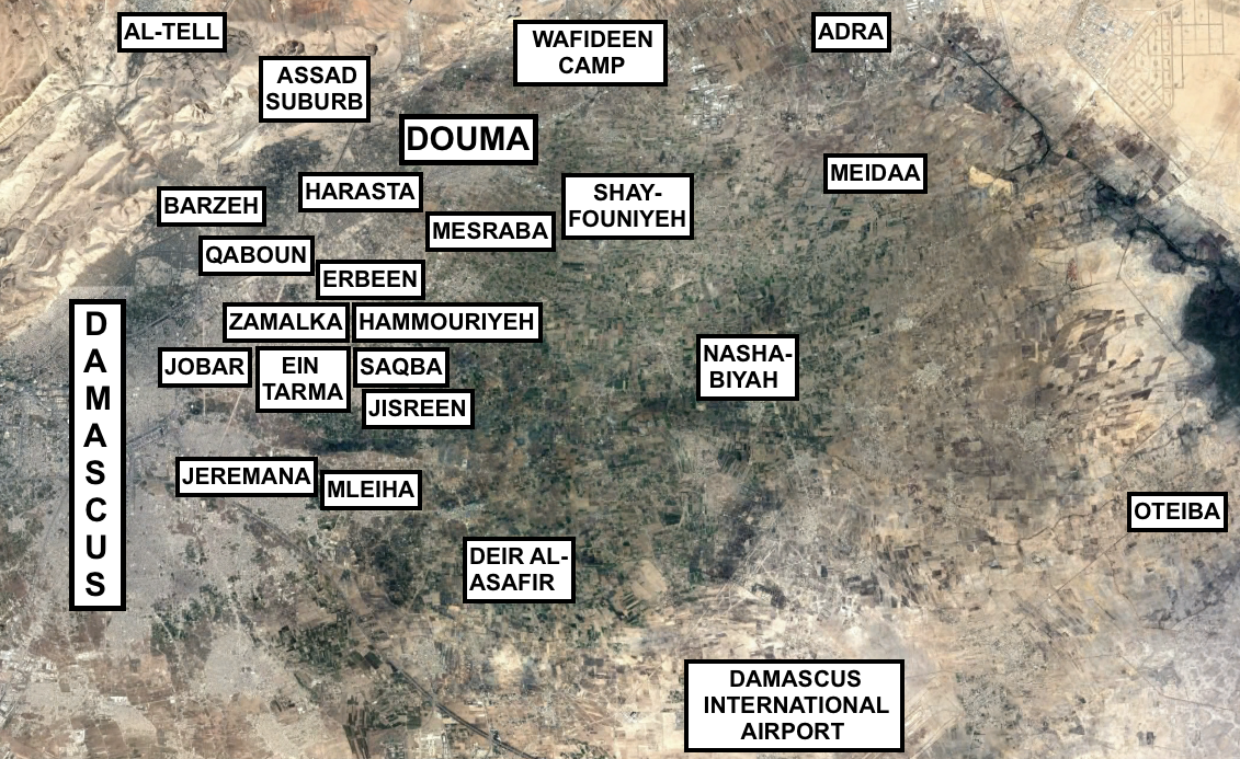 Map of Eastern Ghouta. Source: Made by author.