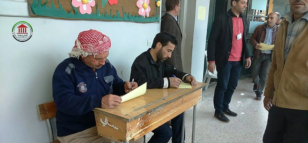 The Local Administrative Council in Kafarbatna, Syria, holds elections in March 2016. Source: Facebook/Kafarbatna Local Administrative Council