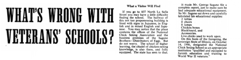 A description of how one state approved schools for the GI Bill, from an article in Collier's magazine, May 1, 1948.