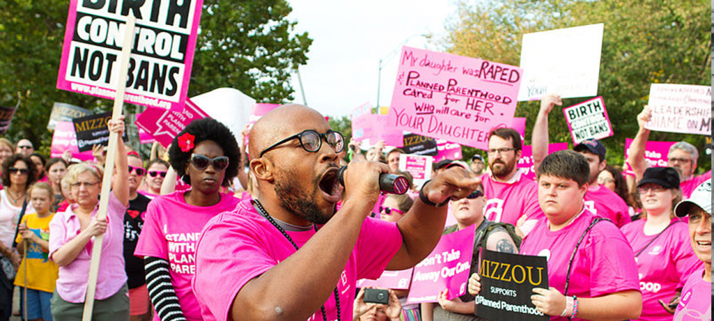 University of Missouri student Jonathan Butler at a Planned Parenthood rally at the University of Missouri in September 2015. Source: Wikimedia Commons.