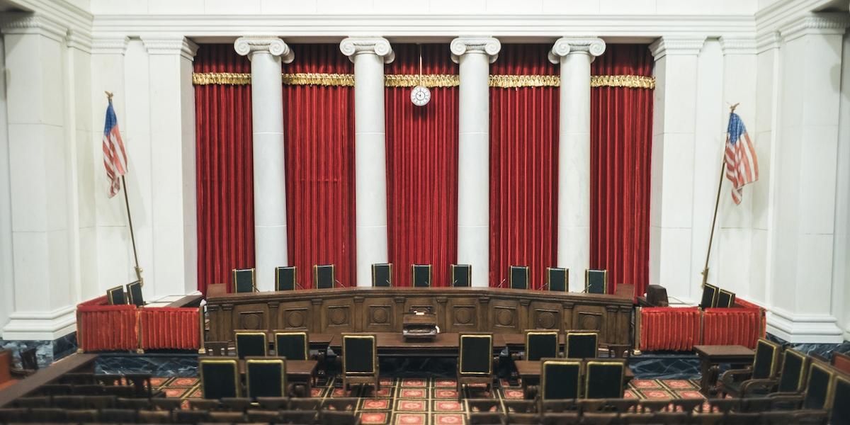Interior of US Supreme Court in Washington DC.