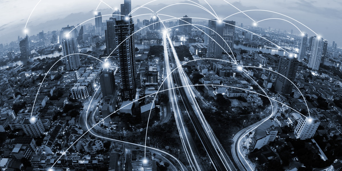 blue tone city scape and network connection concept