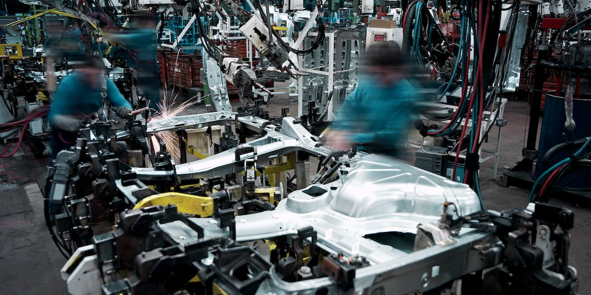 Production line in a car factory.