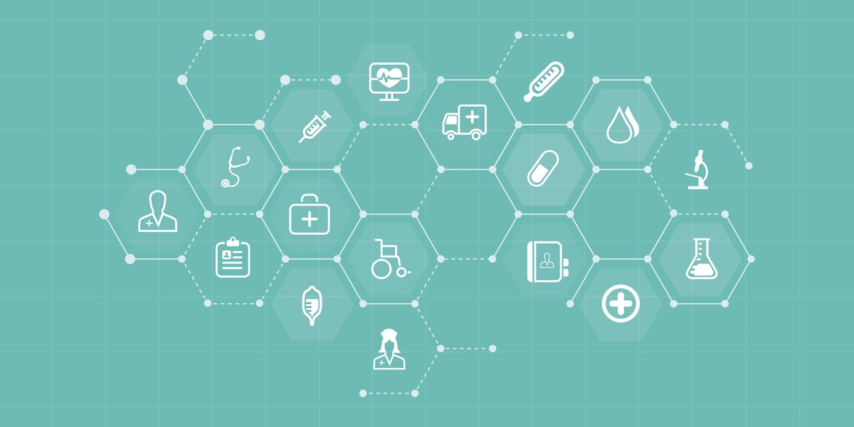 vector medical and health icons and business network background concept