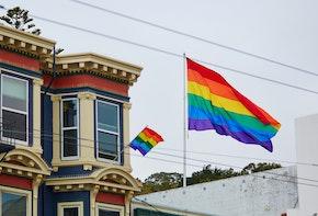 Gay Pride Movement flag on a street of San Francisco, California, USA