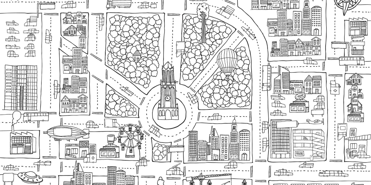 Cartoon illustration background of busy city texture for adult coloring