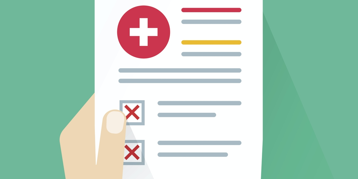 Medical bad results vector illustration, flat cartoon paper document with unhealthy check analysis and bad test result, patient hand holding problem or failed medical record information