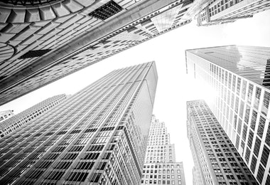 Looking up at skyscrapers in Manhattan, New York City, USA.